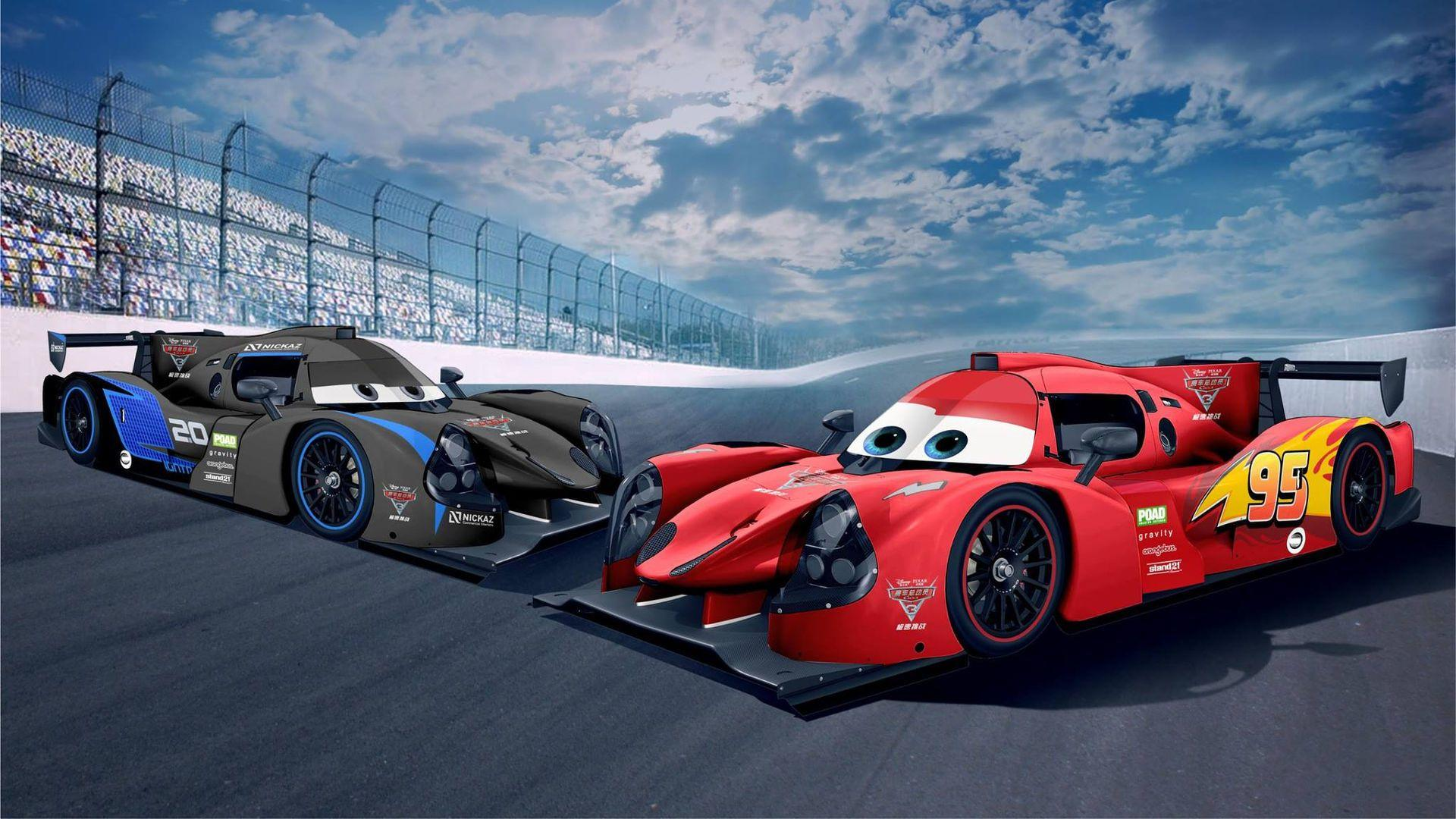 lmp3 race cars get lightning mcqueen jackson storm liveries. Black Bedroom Furniture Sets. Home Design Ideas