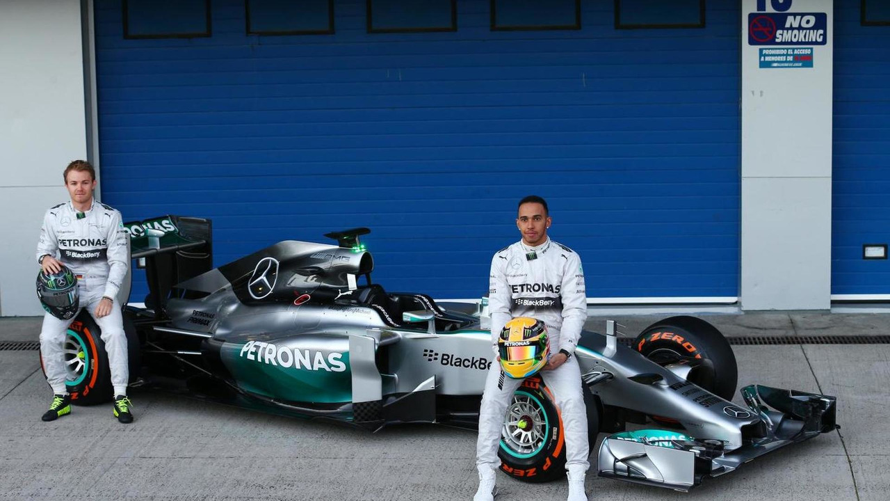 Nico Rosberg and Lewis Hamilton unveil Mercedes AMG F1 W05  Formula One Testing Jerez Spain
