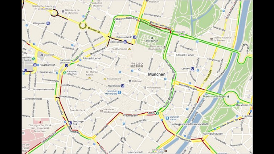 Live-Verkehrsinformationen über Google Maps