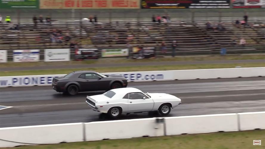 Battle Of The Generations: '72 Dodge Challenger Drag Races Demon