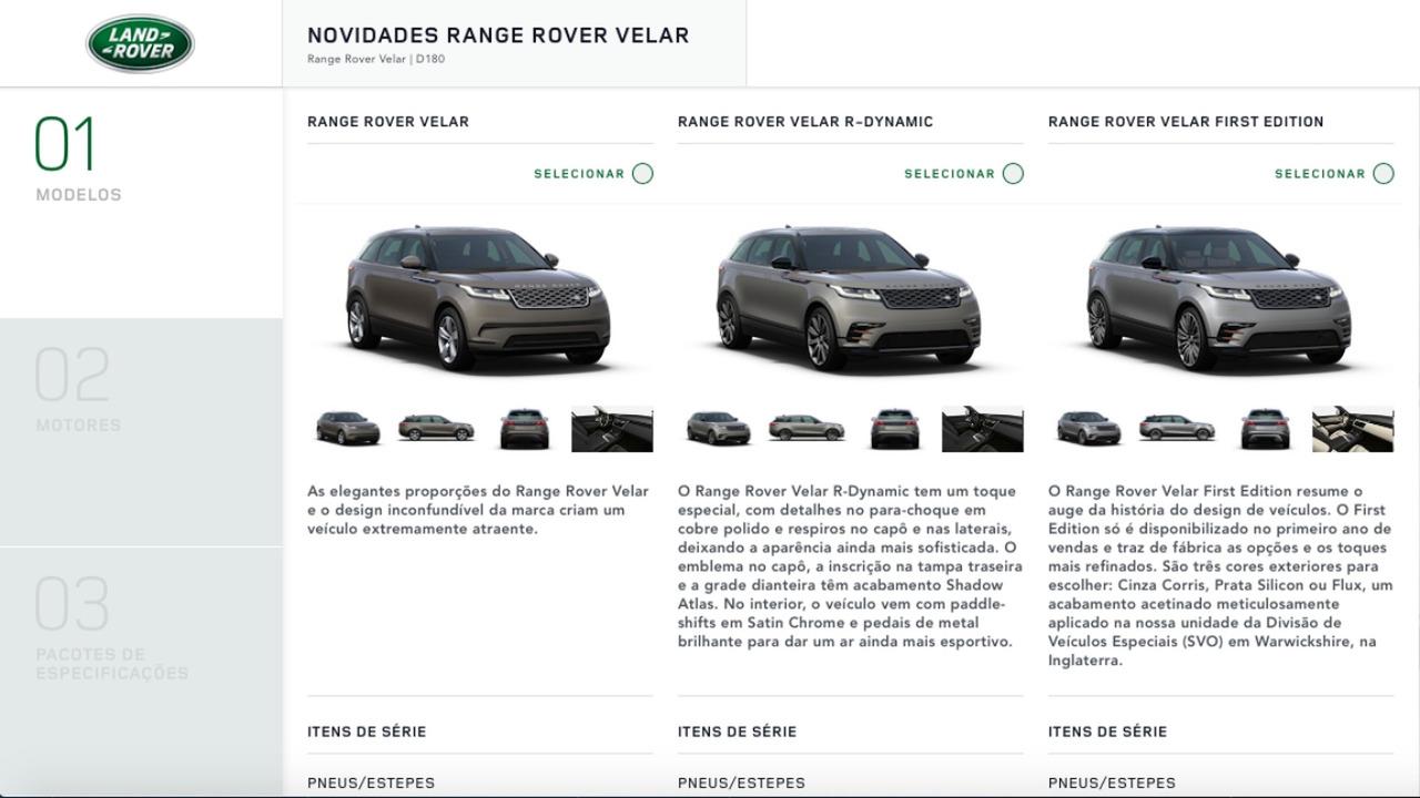 Range Rover Velar - Site Brasil