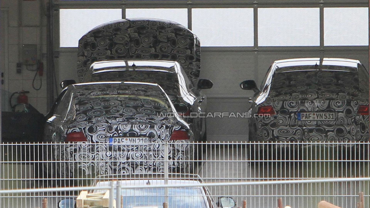 Audi A7 prototypes parked in garage