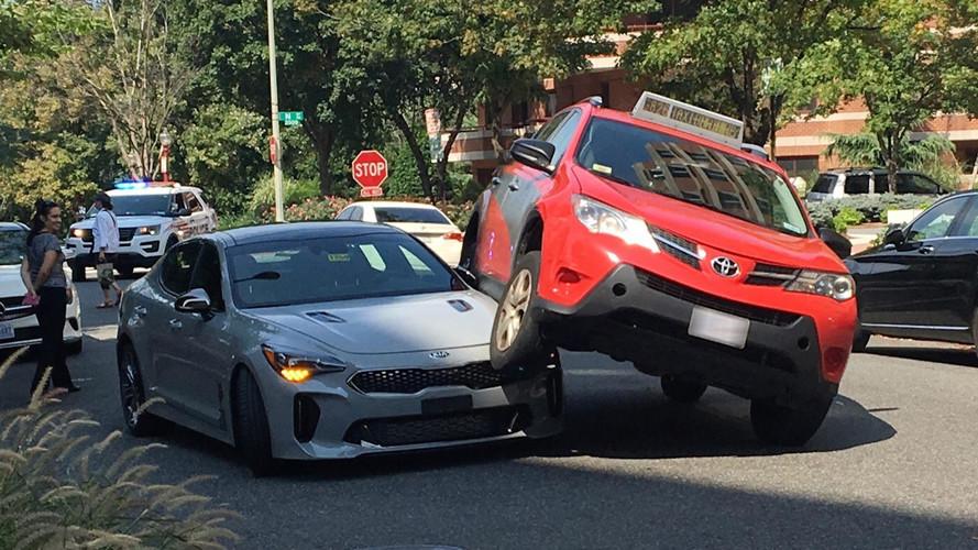 Crash Causes Kia Stinger To Get Cozy With A Toyota RAV4