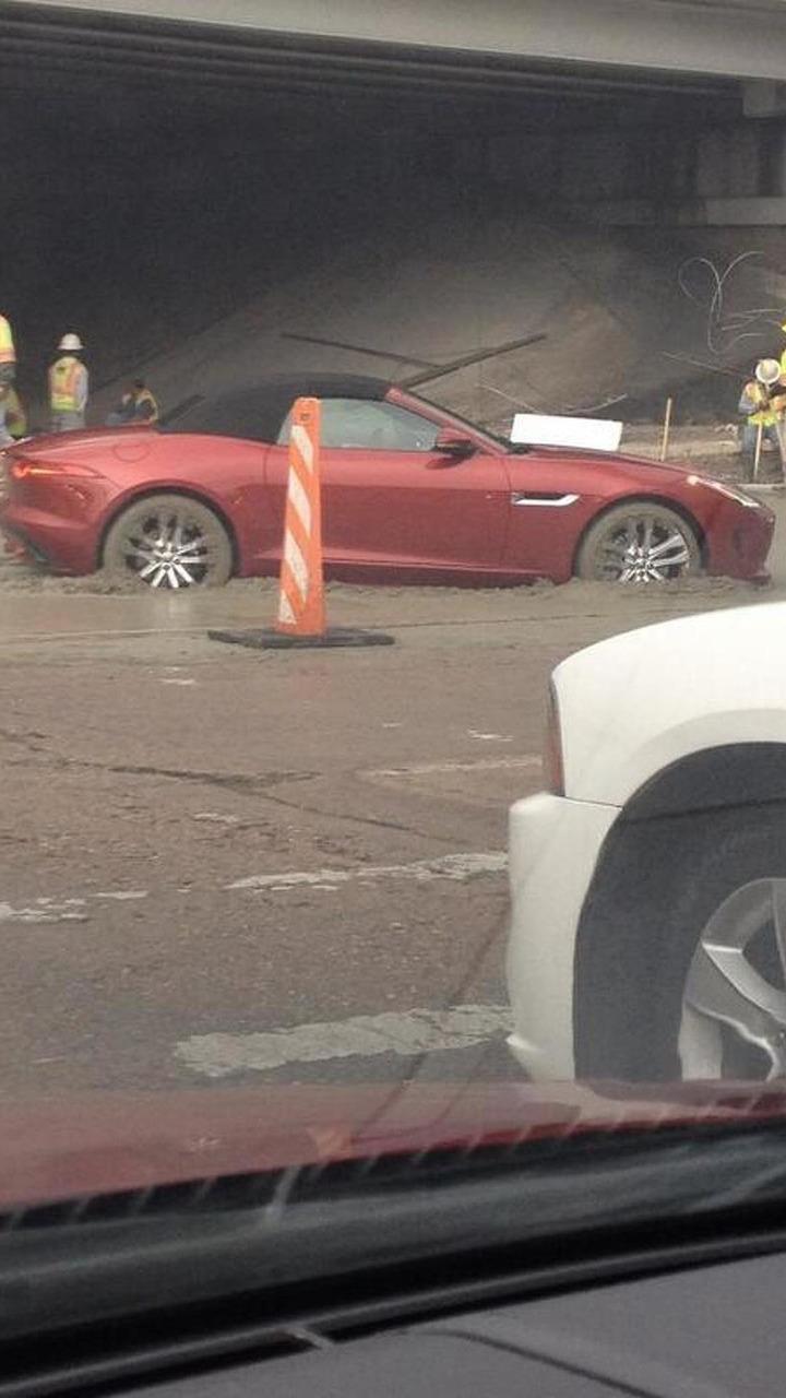 Jaguar F-Type gets stuck in concrete