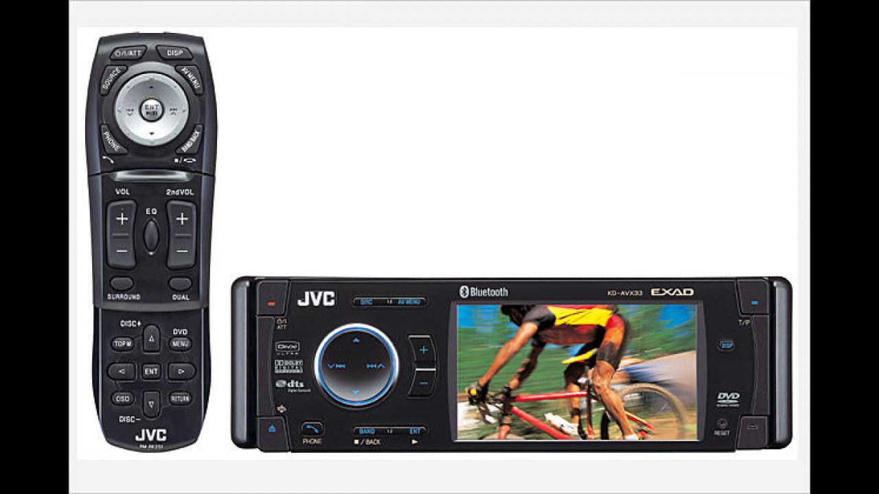 JVC KD AVX33: DVD-Moniceiver mit Fernbedienung