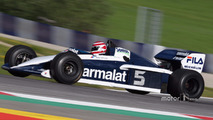 Nelson Piquet, in the Brabham BT52 at the Legends Parade