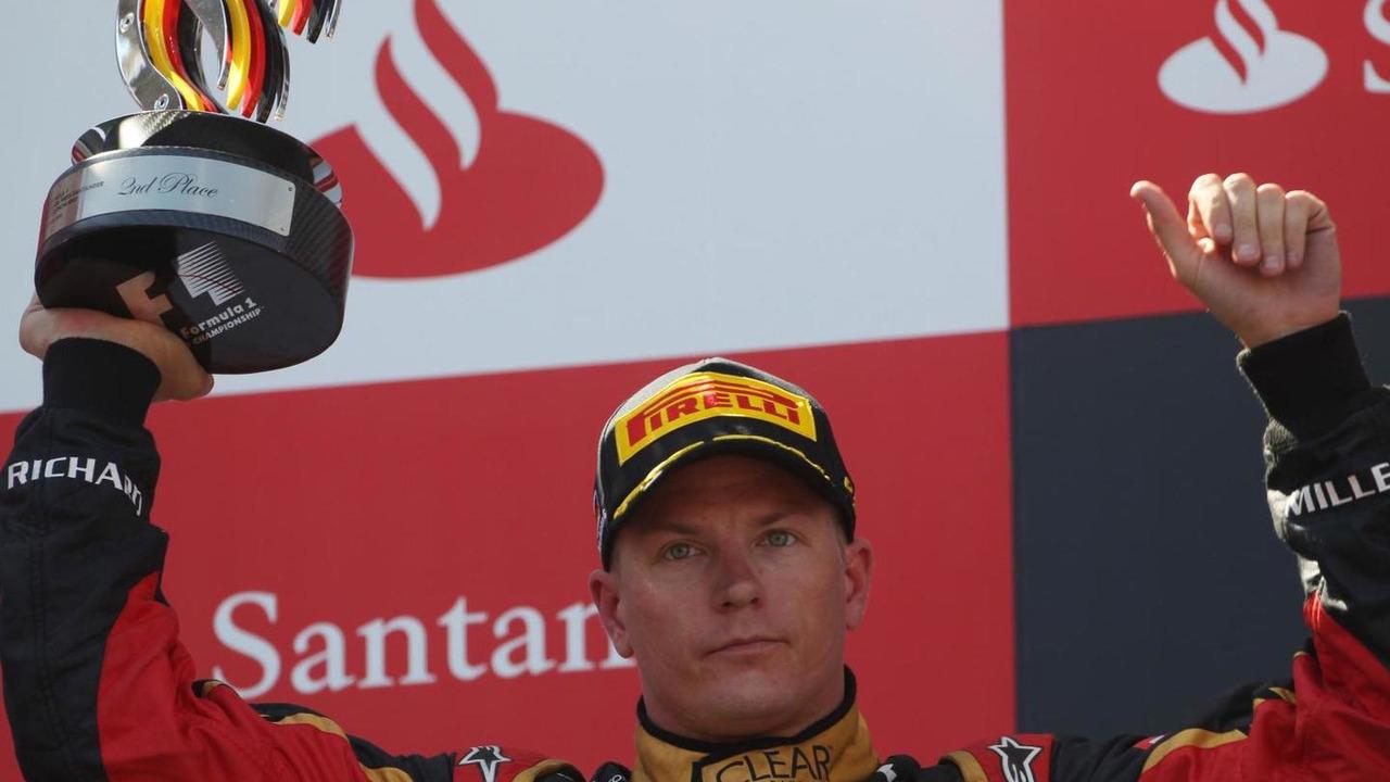 Kimi Raikkonen, Lotus F1 Team celebrates his second position at 2013 German Grand Prix