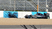 Lewis Hamilton Mercedes AMG F1 W05 crashes at the first corner 28.01.2014 Formula One Testing Jerez Spain