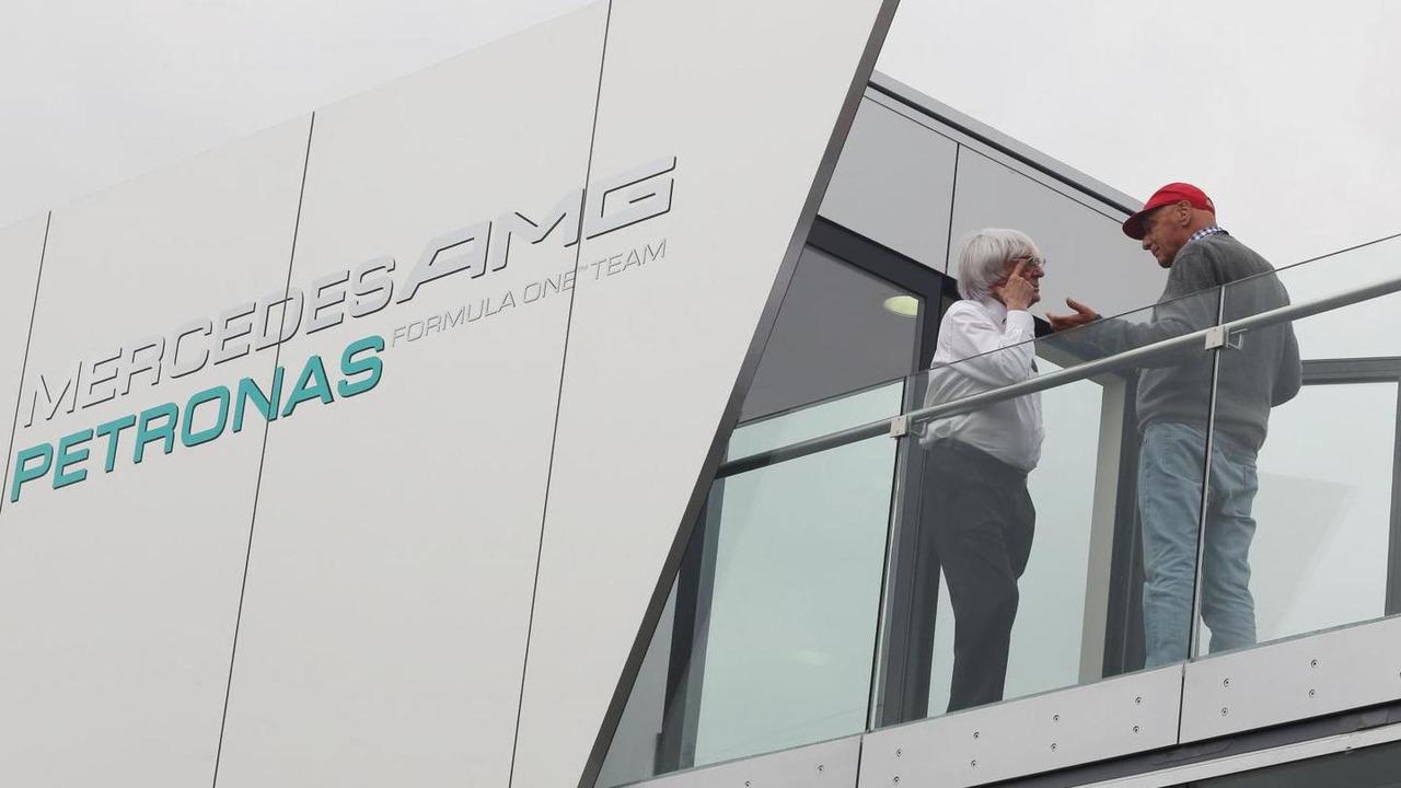 Bernie Ecclestone with Niki Lauda 05.07.2013 German Grand Prix