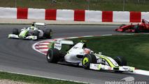 Rubens Barrichello Brawn GP leads Jenson Button Brawn GP