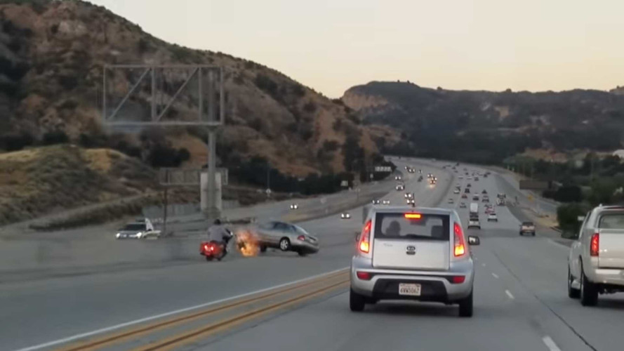Stupid Road Rage Incident Ends With Escalade On Its Roof