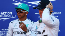 Second placed Lewis Hamilton (GBR) in parc ferme with team mate Nico Rosberg (GER), 24.05.2014, Monaco Grand Prix, Monte Carlo / XPB