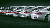 Six generations of Porsche Turbos