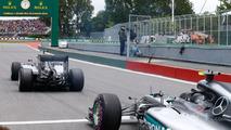 Nico Rosberg, Mercedes AMG F1 W07 Hybrid and Lewis Hamilton on the grid