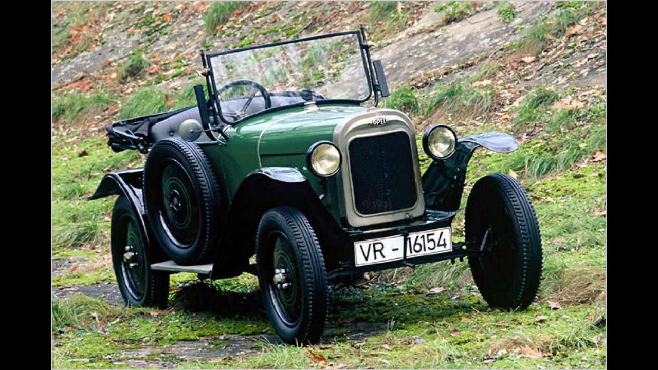 Heute begehrt und schon 1925 zu haben: Kleinwagen. Opel fuhr den 4 PS nach Genf, der im Volksmund wegen seiner grünen Farbe einfach nur