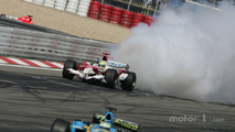 Ralf Schumacher's engine blows up