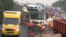 Porsche Cayman GT4 truck accident