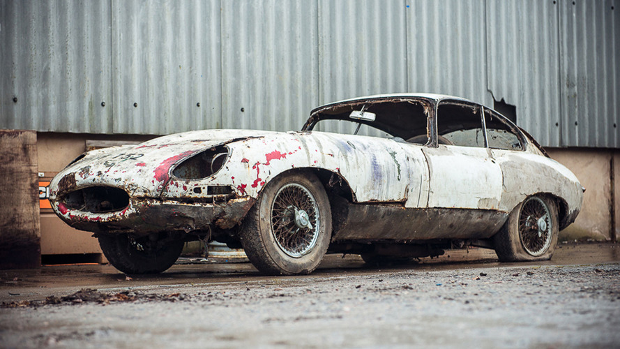 Decaying Jaguar E-Type barn find wants $72,000 at auction