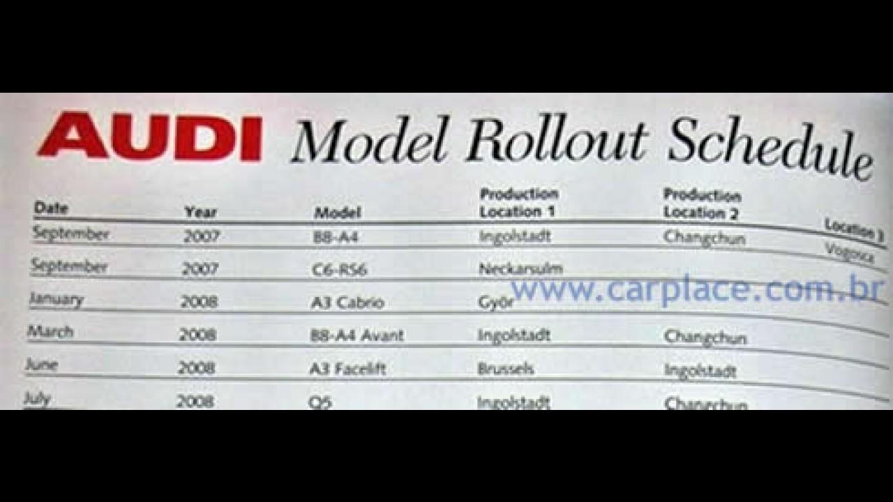 Segredo: Todos os lançamentos da Audi até 2012