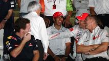 Bernie Ecclestone (GBR), Lewis Hamilton (GBR), McLaren Mercedes, Jenson Button (GBR), McLaren Mercedes - Formula 1 World Championship, Rd 19, Abu Dhabi Grand Prix, 12.11.2010