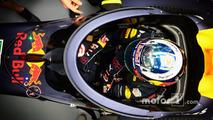 Daniel Ricciardo, Red Bull Racing RB12 with the aeroscreen