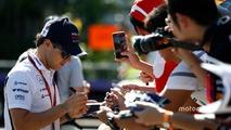 Felipe Massa, Williams Martini Racing, signs autographs for fans