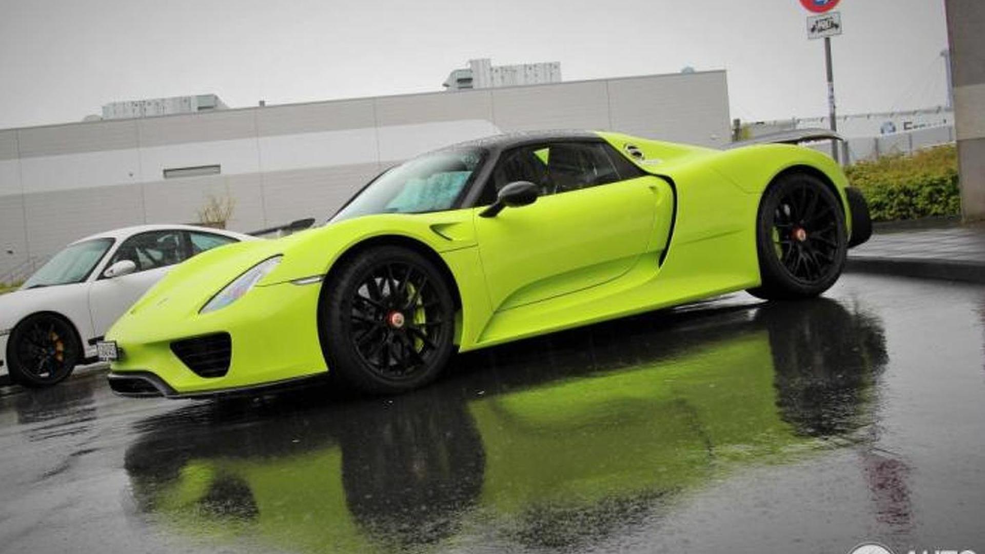 2015-566129-lime-green-porsche-918-spyder-weissach1 Gorgeous Porsche 918 Spyder Acid Green Cars Trend
