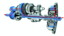 Flow of forces with the Porsche double-clutch system (PDK) in first gear