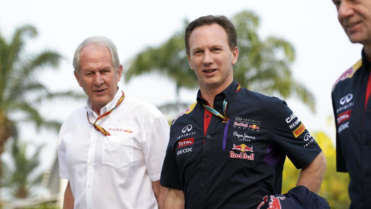 Dr Helmut Marko (AUT) with Christian Horner (GBR) and Adrian Newey (GBR), 28.03.2014, Malaysian Grand Prix, Sepang / XPB