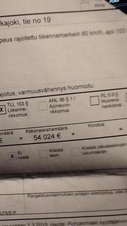 Driver receives €54,024 fine for speeding in Finland
