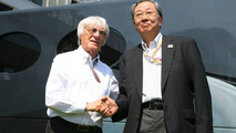 Bernie Ecclestone and Hiroshi Oshima,Valencia, Spain 23.08.2009