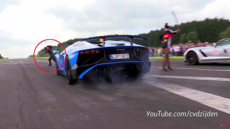 Lamborghini Aventador SV almost runs down cameraman