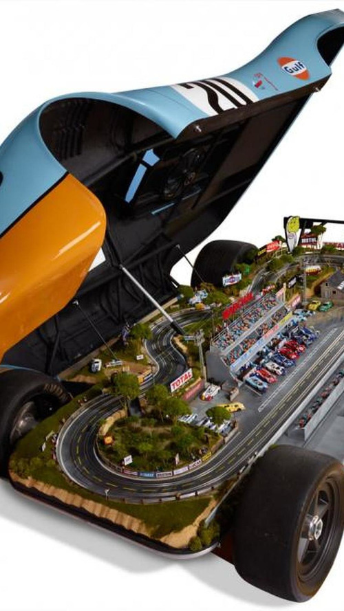 Full-size Porsche 917 replica with built-in 1:32-scale Le Mans raceway
