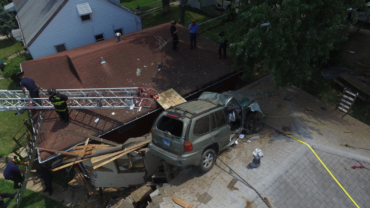 SUV on roof