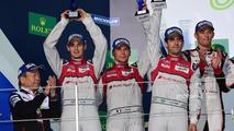 Podium LMP1- second place #8 Audi Sport Team Joest Audi R18- Lucas di Grassi, Loic Duval, Oliver Jarvis
