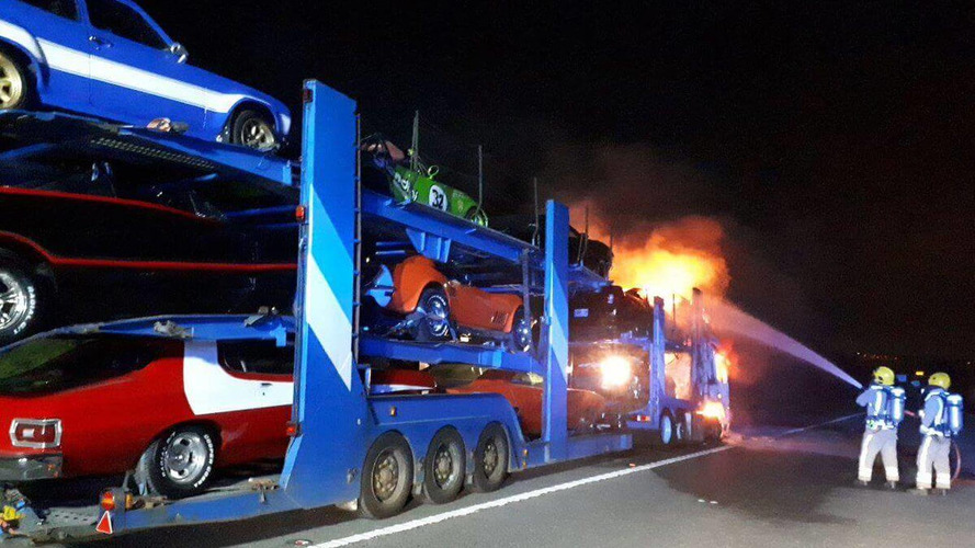 Narrow Escape For Movie Cars After Dramatic Truck Fire