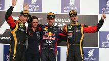 Bahrain Grand Prix, Kimi Raikkonen; Gill Jones; Sebastian Vettel; Romain Grosjean 21.04.2013