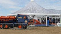Bloodhound SSC support vehicle Supacat outside the stand at Farnborough on 19.07.2010