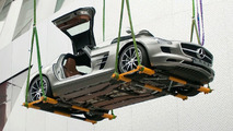 Mercedes-Benz SLS AMG Gullwing flying into the Mercedes-Benz Museum