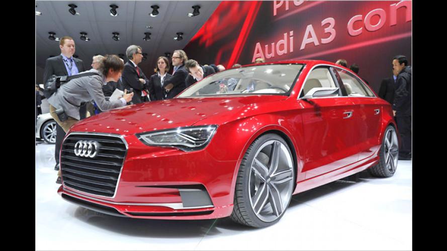 Neue Bilder vom Audi A3 concept: 408 PS in Stufenheckform