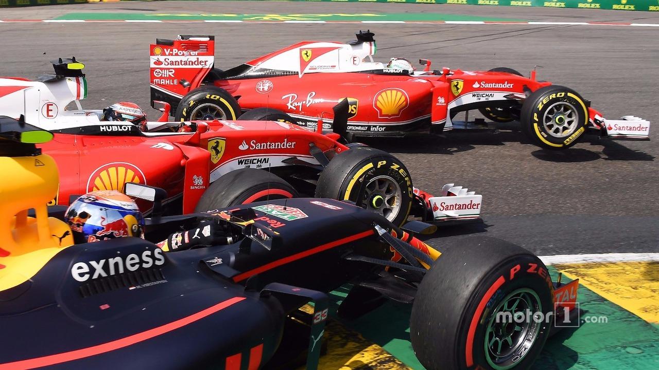 Sebastian Vettel, Ferrari, Kimi Raikkonen, Ferrari, Max Verstappen, Red Bull Racing collide at La Source hairpin