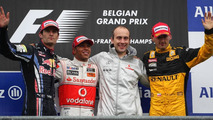 Mark Webber (AUS), Red Bull Racing, 2nd place, Lewis Hamilton (GBR), McLaren Mercedes 1st place, Robert Kubica (POL), Renault F1 Team, 3rd place - Formula 1 World Championship, Rd 13, Belgian Grand Prix, Sunday Podium, 29.08.2010 Spa, Belgium