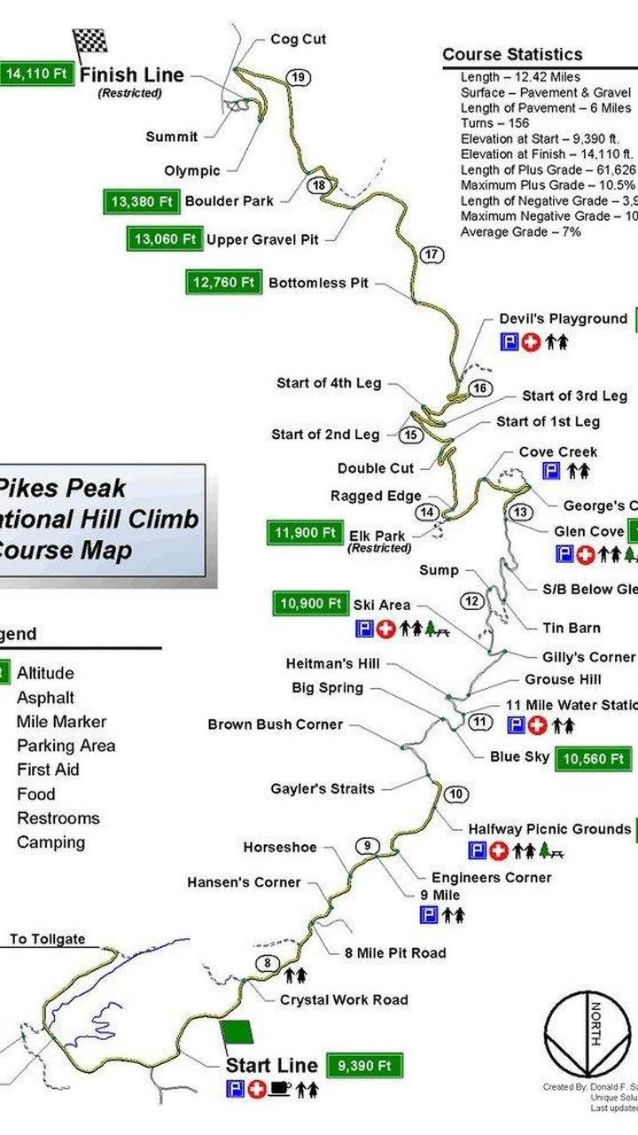 Pikes Peak International Hill Climb course map, 28.06.2011
