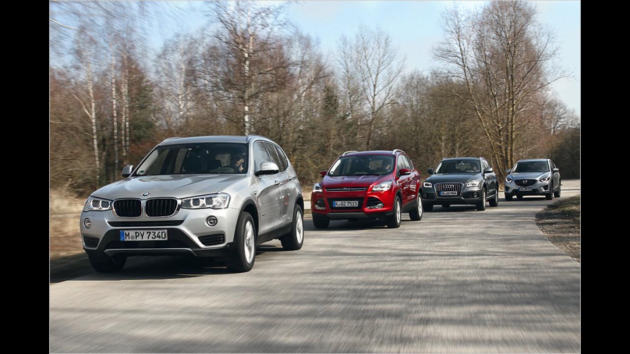 Vergleich: BMW X3 vs. Mazda CX-5 vs. Audi Q5 vs. Ford Kuga