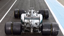 Mercedes AMG F1 W07 Hybrid with 2017 and 2016 Pirelli tires