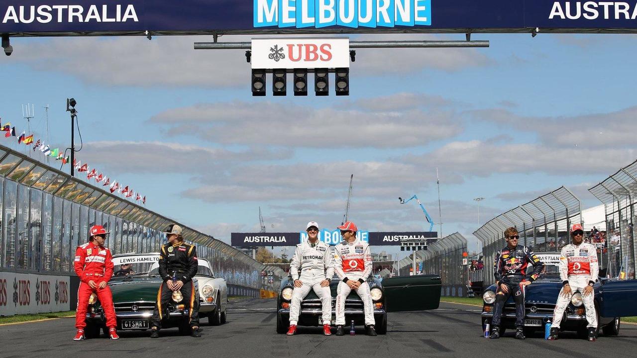 Fernando Alonso, Kimi Raikkonen, Jenson Button, Lewis Hamilton, Sebastian Vettel, Michael Schumacher 18.03.2012 Australian Grand Prix