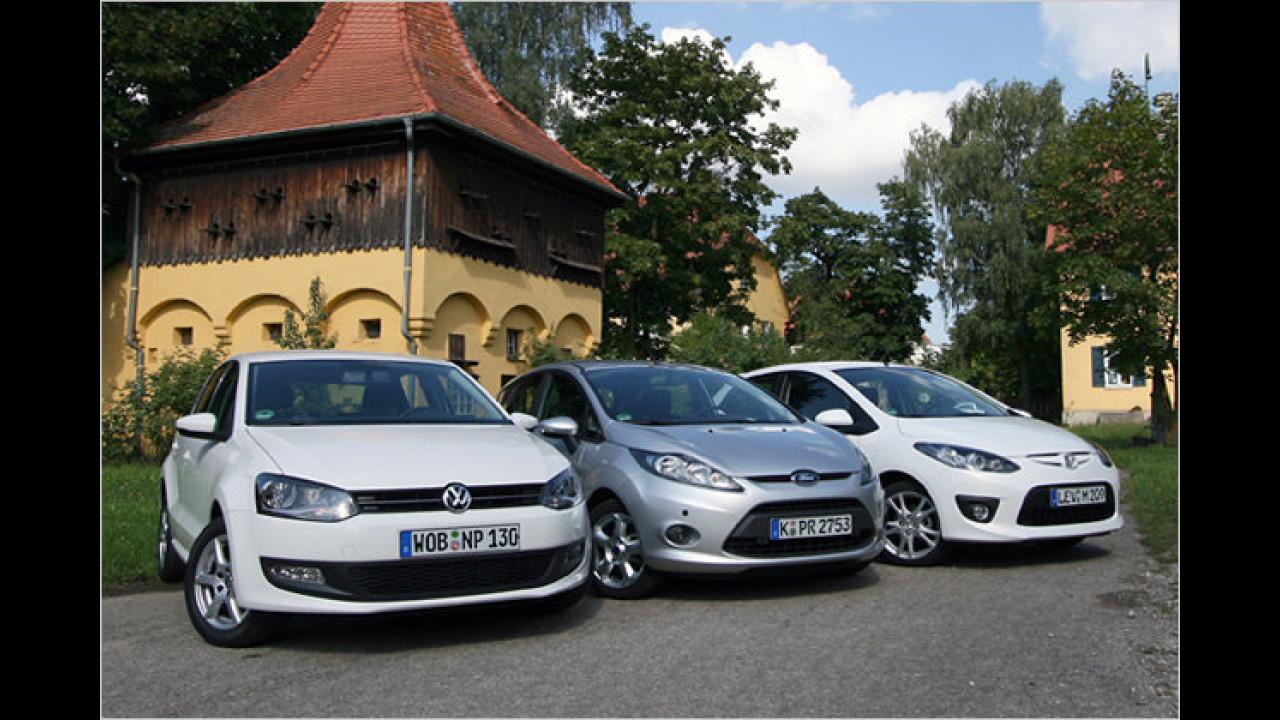 Kleinwagen im Vergleich: VW Polo gegen Ford Fiesta und Mazda 2