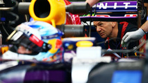 Adrian Newey (GBR) looks at the Red Bull Racing RB10 of Sebastian Vettel (GER), 06.06.2014, Canadian Grand Prix, Montreal / XPB
