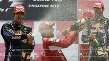 Sebastian Vettel (GER), Red Bull Racing with 1st place Fernando Alonso (ESP), Scuderia Ferrari and Mark Webber (AUS), Red Bull Racing - Formula 1 World Championship, Rd 15, Singapore Grand Prix, 26.09.2010