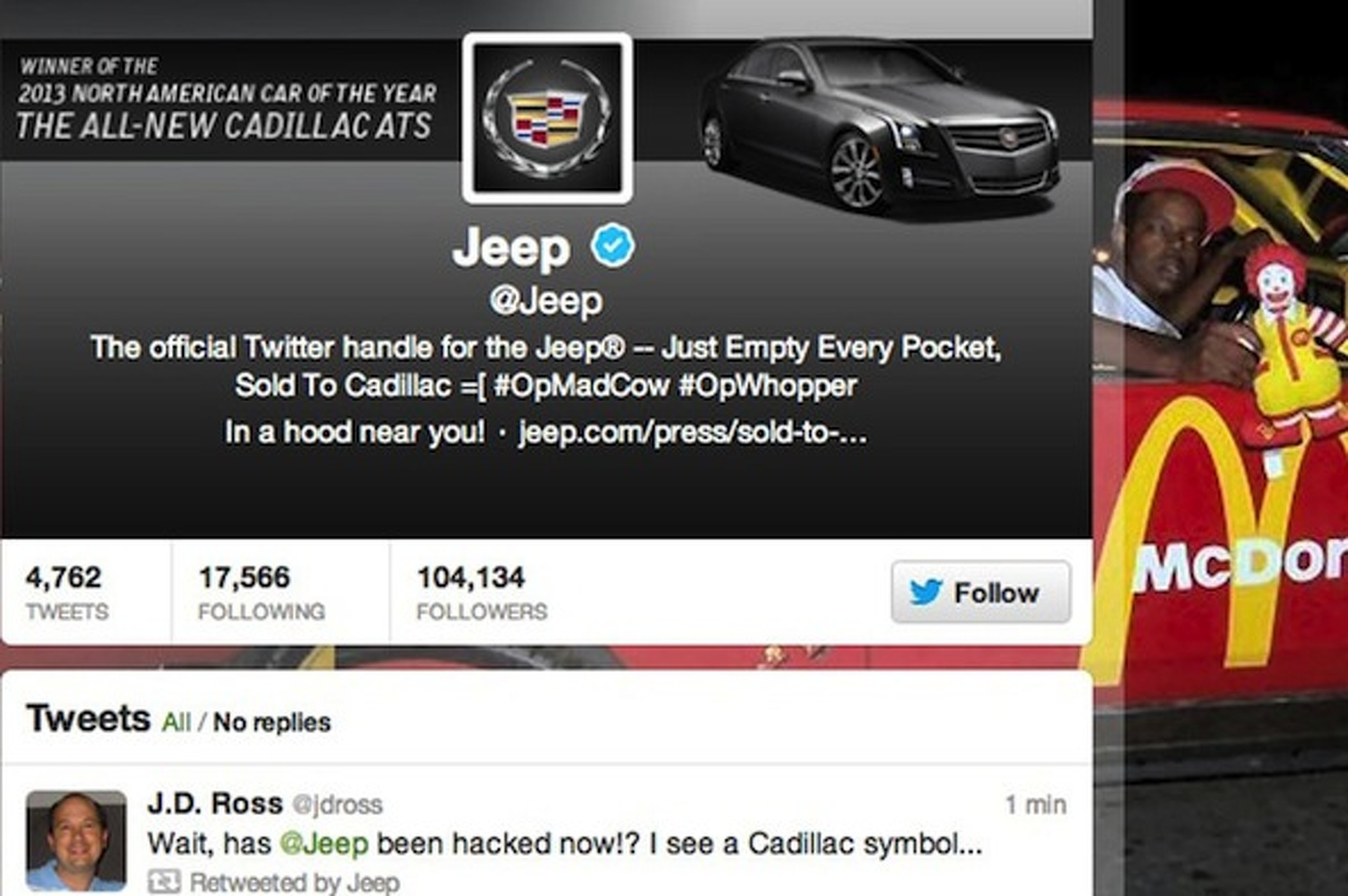 Jeep's Official Twitter Hacked, Hilarity Ensues
